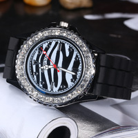 Fashion Zebra Bling Diamond Wrist Watch Quartz Women Men Casual Sport Dress Wrist Watches Silicone ,100pcs/lot DHL