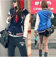 NEW FASHION BASEBALL UNIFORM LETTERS A LOOSE COLOR BLOCK STITCHING STAND-UP COLLAR STRIPED LONG-SLEEVED JACKET#3060