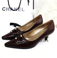 Woman Pumps High Heels Low Heel Shoes Genuine Leather Pumps
