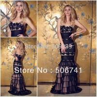 Vestido de festa Custom Made 2014 Mermaid Long Evening Dress Lace Appliqued Black Evening Dress vestido de festa longo