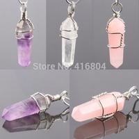 1Pc Rose/Rock Quartz Amethyst Crystal Gem Stone Healing Chakra Pendulum Pendant Charms Jewelry