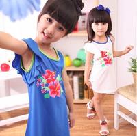 2014 Wholesale kids outfit floral pattern fashion dresses single shoulder Dress girls factory