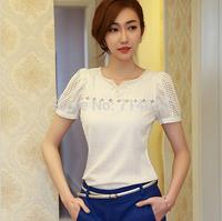 2014 Women chiffon Lace t shirt women hollow-out top blouses korean style tshirt women clothing Blusas Femininas