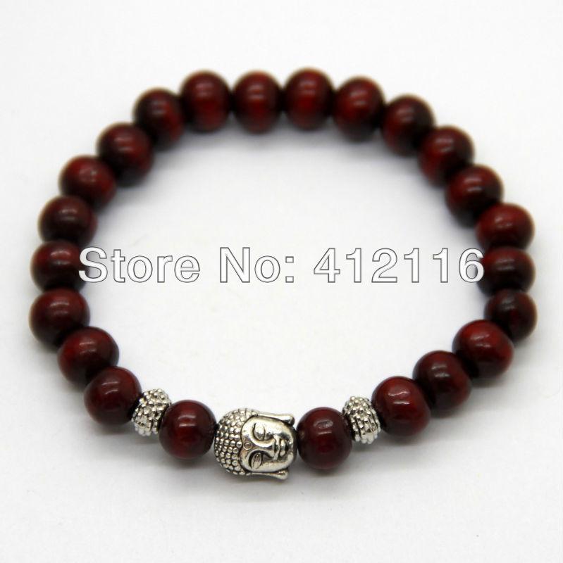 Wholesale Promotion 12 pieces/lot Red Wood Bracelet, Prayer Mala Beads Natural Wood Buddha Head Beads Bracelets Jewelry(China (Mainland))