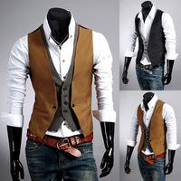 A5ag  2014 Korean British Men's Casual faux two 2 in 1 Suit Vest Tops Slim Dress Jacket Vests Leisure business Waistcoat XXXL