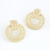 Fashion Metal Gold Silver Circle Earrings Women Stud Earrings