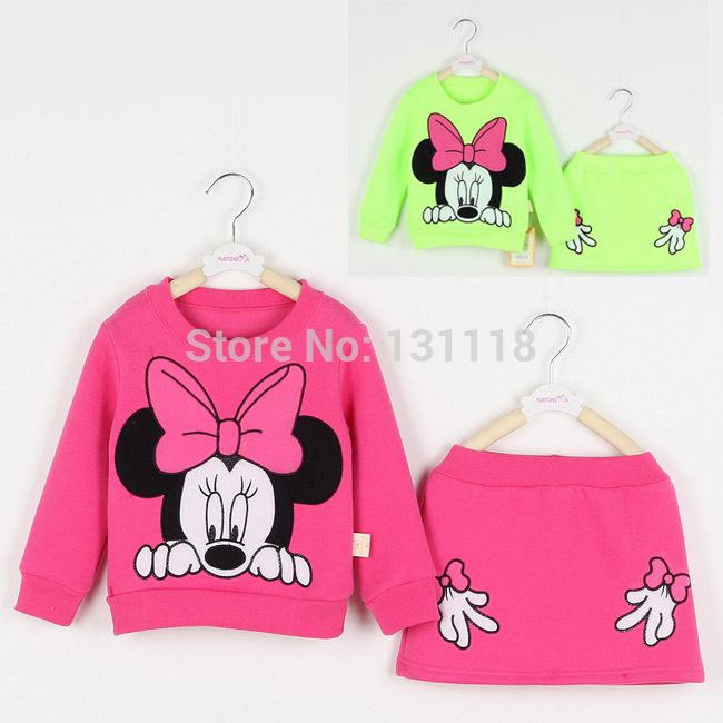 Vendite al dettaglio bambini set di abbigliamento ragazze autunno Minnie Mouse manica lunga felpa di cotone camicia top + gonna midi, 3 colori vestiti
