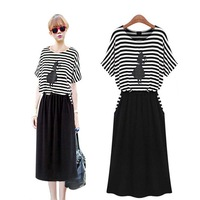 2014 summer fashion plus size fashion black and white stripe  women's summer mm one-piece dress clothes 1pcs/lot Free Shipping