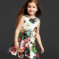 2014 summer new fashion children designer dress kids girl print dress brand party floral dresses
