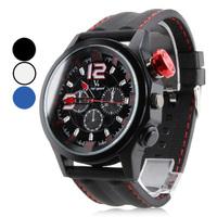 Men's Sporty Dial Rubber Band Quartz Analog Wrist Watch (Assorted Colors)