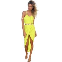 New 2014 Summer Sex Beach Spaghetti Strap Strapless Bohemian Yellow Cultivate Free Shipping Plus S M L XL 2XL 3XL 4XL13907