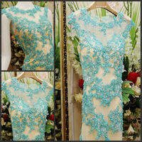 Luxury Sexy Backless Scoop Lace Trumpet Mermaid Crystal Vestido Prom Celebrity Evening Formal Party Dress Bridal Gown(XNE-ED099)