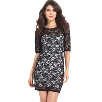 2014 Women's new long-sleeved round neck backing Slim Sexy Dress