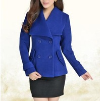 2014 Rushed Sale Women Woolen Coat,women's Fashion Double Breasted Jacket,winter Jacket,outerwear 2 Colors Shipping