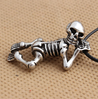 European and American fashion trend retro personality Statement titanium steel skull skeleton pendant necklace  men jewelry