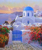 handpainted  impressionist  garden scenery oil painting modern art home decor GDN2025 50x60cm