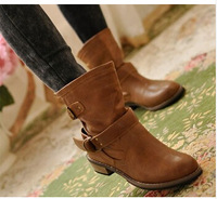 women Boots female spring and autumn fashion artificial martin boots flat vintage buckle motorcycle boots