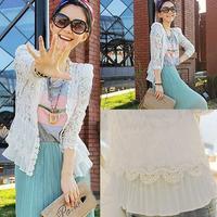 Hot Sale Comfy Transparent Lace Crochet Cardigan Shoulder Pads Double Hem White Drop Shipping WF-5123\br