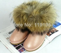 Free shipping 2014 New arrivals waterproof geniune leather fox fur snow boots raccoon winter boots women's warm boots fashion