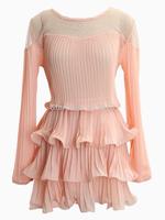 Women Pink/Black Chiffon Layered Ruffle Pleated Vestidos Sheer Mesh Panel Long Sleeve Dress One Size 2014 Summer Autumn New