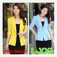 L-XXL size blazer women 2014 new women slim plus size single breasted half sleeve ladies blazer free shipping