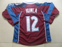 New Hockey Jerseys Avalanche #12 Iginla Jersey Red Color Size 48-54 Stitched Mix Match Order