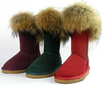 Free shipping 2014 New arrivals fashion cowhide genuine leather snow boots knee-high fur women's shoes boots winter warm shoes