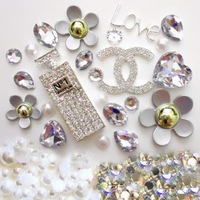 Perfume Bottle Phone Deco for DIY Phone Cases Silver Bling Flatback Alloy Daisy Cabochons