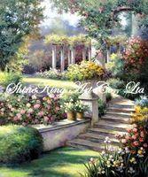 handpainted  impressionist  garden scenery oil painting modern art home decor GDN1320 50x60cm
