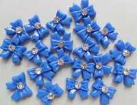 2014 Beautiful DIblue ribbon  bowknot DIY plastic Tips Decoration nail art 50pcs FREE SHIPPING for gift B255