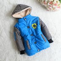 2014 baby boy Down& parkas children outerwear winter coats thicken warm PU leather fleecing winter kids fashion hooded jackets