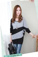Women's crop top t shirt slanting patchwork stripe long-sleeve cotton plus size t-shirt women clothing D449