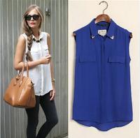 Women's summer shirt crop top shirt Summer chiffon casual all-match plus size chiffon shirt women clothing D447