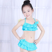 2014 Summer Bikini Swimwear Girl Children 2 Piece Elastic Fabric Skirt Style Swimsuit Beach wear Kids Girl