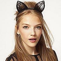 New 2014 Brand New Women's Fancy Dress Costume Party Black Wired Lace Cat Ears Headband