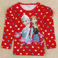 New 2014 Frozen Elsa & Anna children girls shirt autumn long sleeves shirts for baby girl F5167