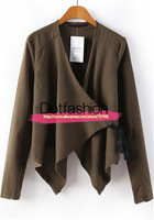 Women's Short Open Stitch 2014 Newest Summer Fashion Slim Brown Long Sleeve Asymmetrical Crop Outerwear