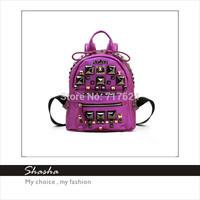 European and American rock rivet shoulder bag backpack schoolbag backpack bag 2014 new fashion women retro wave packet