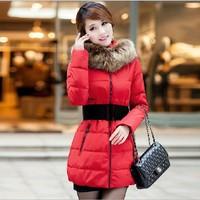 Medium Long Design Parka Wool Collar Winter Coat Women Warm Hoddies Elegant Outwear Slim Down Jacket Coat Padded Coat 1106