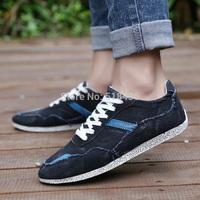 2014 new arrival plimsolls canvas shoes men breathable Fashion patchwork men's sneakers lace-up platform casual shoe Jean shoes