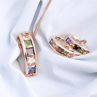Italina Rigant Necklace  and Earring set wholesale 18k Rose Gold Plated Austrian Crystal Jewelry Set Birthday Gift