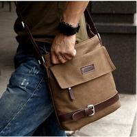 2014 New Fashion Korean Retro Style Men Bags Shoulder Canvas Messenger Cross Body Bag Travel Black Brown