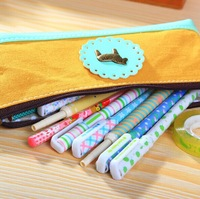 school pencil case pencil bag pen case  liner and PU 4 colors 17*8 cm wholesale