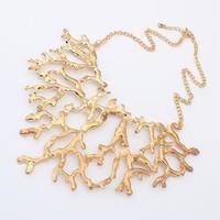 Free Shipping! New 2014 European Style Women's Jewelry Fashion Exaggerated Gold-Tone Metal Geometric Bib Necklace #100447