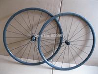 Full black super light 700c 24mm tubular carbon wheels /carbon fiber road bike wheels 3K glossy finish(Only 1050+/-30g)