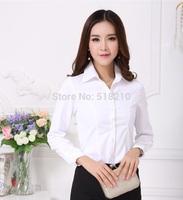 New Elegant White Fashion Formal Professional Business Women Work Wear Blouses Fall Cotton Shirts Office Uniform Tops Plus Size