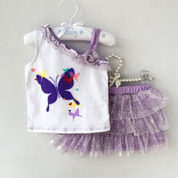 2014 infant girls Butterfly Tops+Skirt, newborn baby girl clothes sets baby dress baby clothing sets conjuntos,conjunto de roupa
