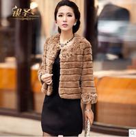 2014 genuine rex rabbit fur coat white elegant fur hooded cape natural coats for women short fashion desigual winter coat W189