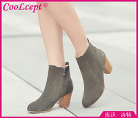 CooLcept Free shipping half ankle short natrual real genuine leather boots women snow boot high heel shoes R4574 EUR size 34-39