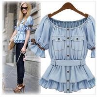 Summer Women Blouses Europe And America Hot Denim Cotton Short Sleeve Cardigan Original Single High Quality BM-020